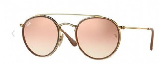 Ray-Ban Round Metal Double Bridge Gold/ Copper Gradiënt Flash