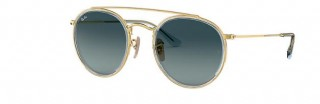 Ray-Ban Round Metal Double Bridge Gold / Blue Gradiënt