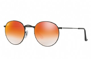 Ray-Ban Round Metal Black/ Orange Gradient Flash