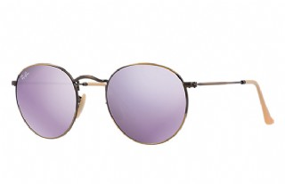 Ray-Ban Round Metal Bronze Copper/ Lilac Mirror