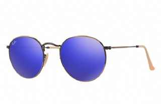 Ray-Ban Round Metal Demiglos Brusched/ Bronze Lillac Mirror