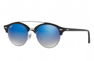 Ray-Ban 4346 Clubround Double Bridge Black/ Blue Gradient Flash