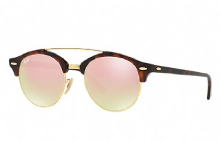 Ray-Ban 4346 Clubround Double Bridge Tortoise/ Copper Gradient Flash